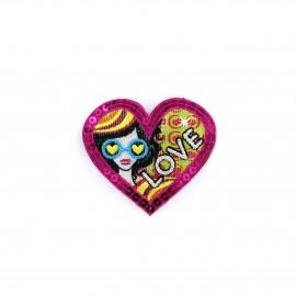 Iron on patch Pop glitter - love