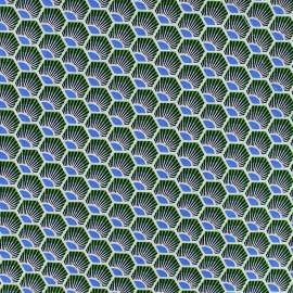 Tissu coton Plume - émeraude x 10cm
