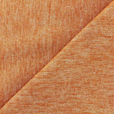 Tissu jacquard velours Caoba - orange x 10cm