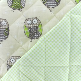 ♥ Only one piece 60 cm X 145 cm ♥  Quilted cotton fabric Baby Molly - sand/light green