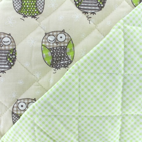 Tissu matelassé Baby Molly - sable/vert clair x 15cm