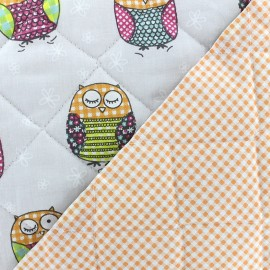 ♥ Coupon 15 cm X 145 cm ♥ Quilted cotton fabric Baby Molly - grey/orange x 15cm