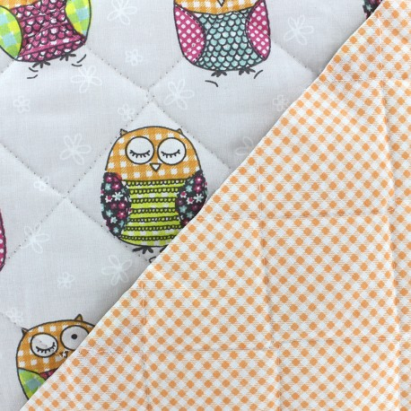 Tissu matelassé Baby Molly - gris/orange x 15cm