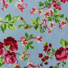 Tissu Velours ras fleuri - bleu clair x 10cm