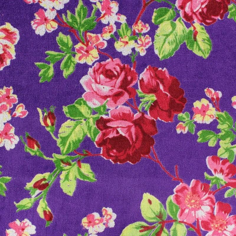 707f19e52e4d Tissu Velours ras fleuri - violet x 10cm - Ma Petite Mercerie