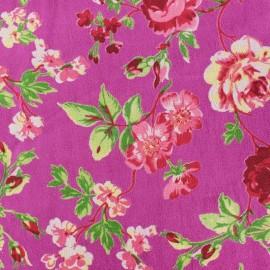 Tissu Velours ras fleuri - violet x 10cm