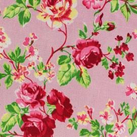 Tissu Velours ras fleuri - rose x 10cm