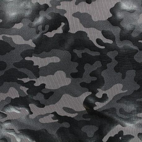 Thick lycra fabric Camouflage - dark grey x 10cm