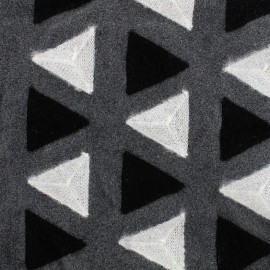 Embroidered wool broadcloth fabric Delta - grey  x 10cm