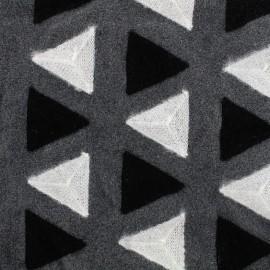 Tissu drap de laine brodé Delta - gris  x 10cm