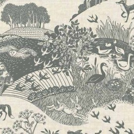 Tissu coton Makower UK Heartwood Scenic - grey x 30cm