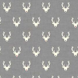 Tissu coton Makower UK Scandi Stags - grey x 10cm