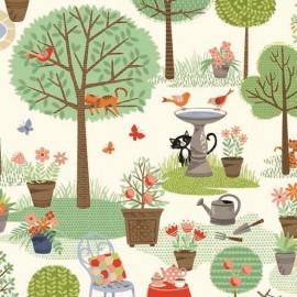 Tissu coton Makower UK Crafty Cats Garden - cream x 30cm
