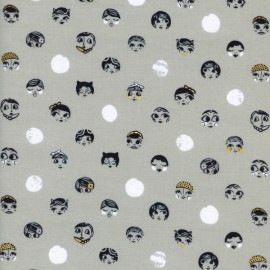 Tissu coton Black and white - Ladies night metallic x 15 cm