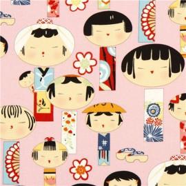 Tissu coton Indochine - Yui Kokeshi pink x 30 cm