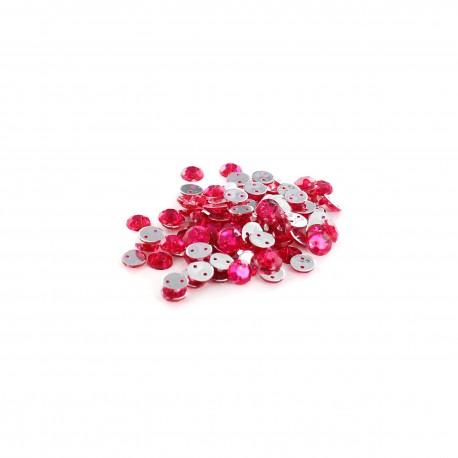 Sew-on cone India rhinestones (100 pcs) - pink