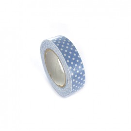 Adhesive ribbon tape, white polka dots - bleuet