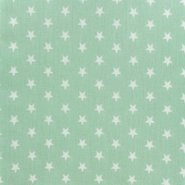 Tissu enduit coton Poppy Etoile - blanc/vert jade x 10cm