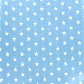 Tissu enduit coton Poppy Etoile - blanc/bleu clair x 10cm