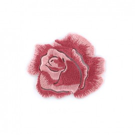 Embroidered iron on patch Rose - pink