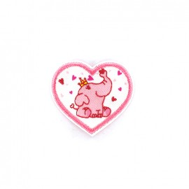 Iron on patch Sweet elephant king coeur - pink