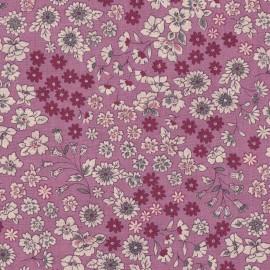 Tissu enduit coton Froufrou fleuri - rose des indes x 10cm