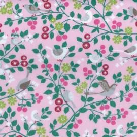 Tissu enduit coton Froufrou oiseau - Pétale de rose x 10cm