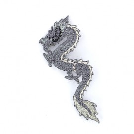 Iron on patch Dragon de Chine - grey