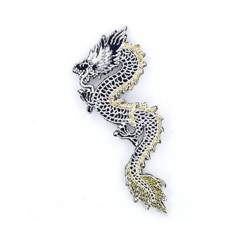 Iron on patch Dragon de Chine - black and gold