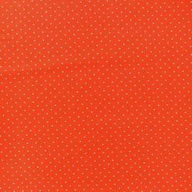 Tissu enduit coton Poppy Mini Pois - blanc/orange x 10cm