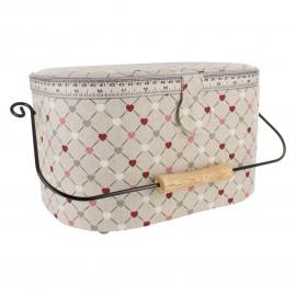 Boîte à couture ovale lin - love
