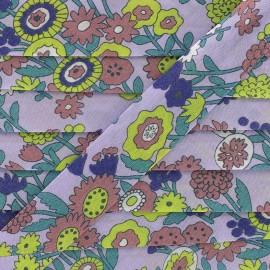 Biais coton Froufrou fleur 20 mm - parme x 1m