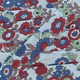 Cotton bias Froufrou fleur 20 mm - celeste x 1m
