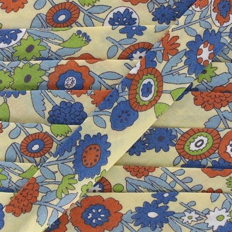Biais coton Froufrou fleur 20 mm - ivoire nacré x 1m