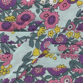 Biais coton Froufrou fleur 20 mm - céladon x 1m