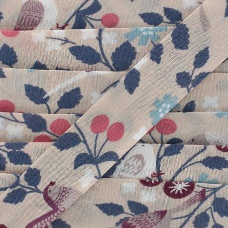 Biais coton Froufrou oiseau 20 mm - mandarine x 1m