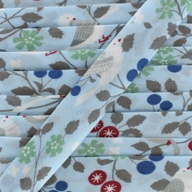 Cotton bias Froufrou oiseau 20 mm - celeste x 1m