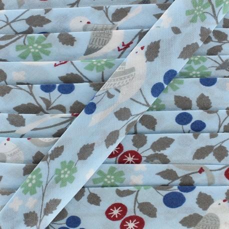 Biais coton Froufrou oiseau 20 mm - céleste x 1m