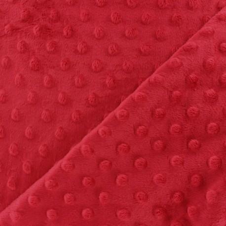 Minkee velvet fabric dot - poppy x 10cm