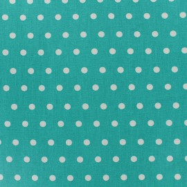 Small white dots Coated Cotton Fabric - celadon x 10cm
