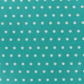 Tissu enduit coton petits pois blancs - céladon x 10cm