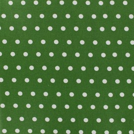 Tissu enduit coton petits pois blancs - vert x 10cm