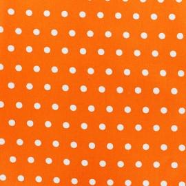 Tissu enduit coton petits pois blancs - mandarine x 10cm