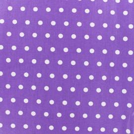 Tissu enduit coton petits pois blancs - violet x 10cm