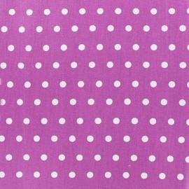 ♥ Coupon 300 cm X 150 cm ♥ Tissu enduit coton petits pois blancs - mauve