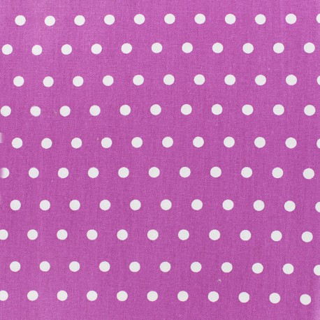 Small white dots Coated Cotton Fabric - light purple x 10cm