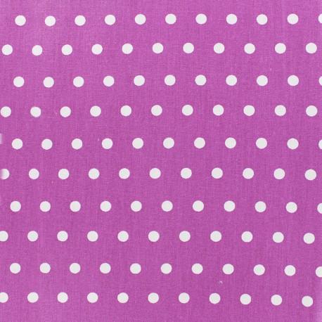 Tissu enduit coton petits pois blancs - mauve x 10cm