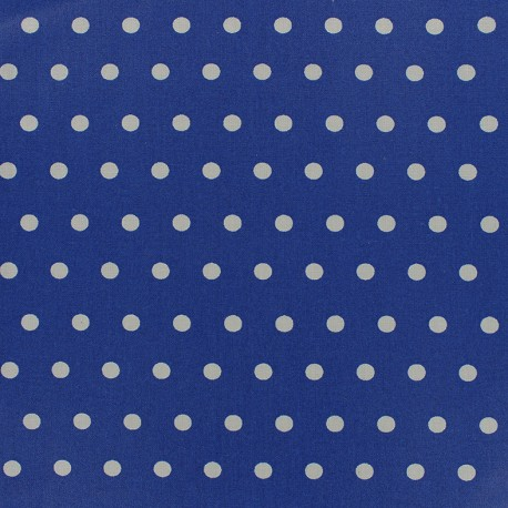 Small white dots Coated Cotton Fabric - ocean x 10cm