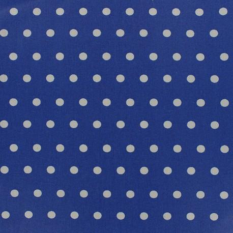 Tissu enduit coton petits pois blancs - océan x 10cm