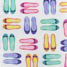 Tissu popeline Ballerines - multicolore x 21cm